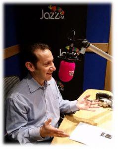 Stuart Warner being interviewed on Jazz FM